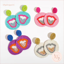 Load image into Gallery viewer, Tongue Embellished Seed Bead Beaded Earrings