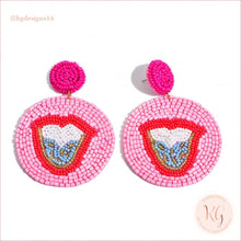 Load image into Gallery viewer, Tongue Embellished Seed Bead Beaded Earrings Pink