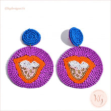 Load image into Gallery viewer, Tongue Embellished Seed Bead Beaded Earrings Purple