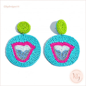Tongue Embellished Seed Bead Beaded Earrings Turquoise