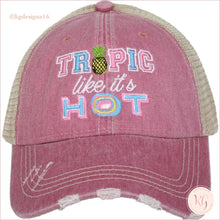 Load image into Gallery viewer, Tropic Like Its Hot Hat Mauve Trucker Hats