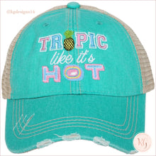 Load image into Gallery viewer, Tropic Like Its Hot Hat Teal Trucker Hats