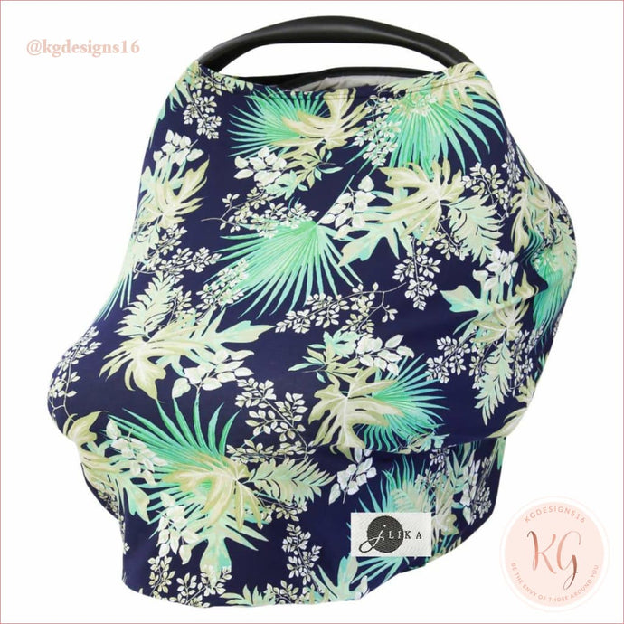 Tropical Floral Stretchy Infant Car Seat Canopy And Nursing Cover