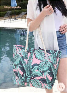 Tropical Pink Palm Oversize Beach Resort Tote