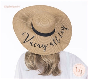 Vacay All Day Embroidered Resort Sun Hat Wide Brim Vacation Straw Jw