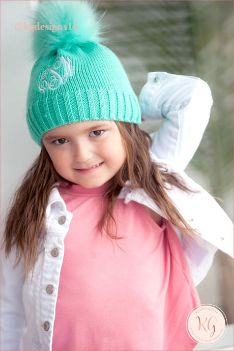 Viv & Lou Girls Mint Monogrammed Pom Hat