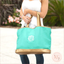 Load image into Gallery viewer, Viv & Lou Monogram Teal Oversize Cabana Tote