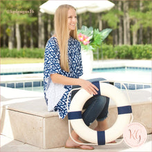 Load image into Gallery viewer, Viv & Lou Navy Mosaic Stella Top Beach Cover Up Pool Destination