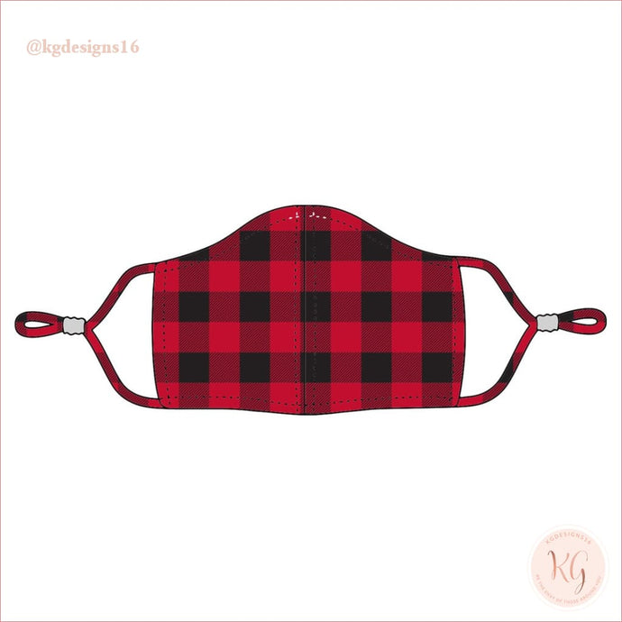 Viv & Lou Red Buffalo Check Plaid Adjustable Face Mask