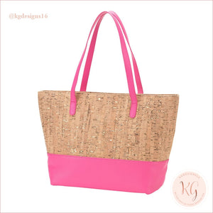 Viv & Lou Vegan Leather And Cork Charlotte Purse Hot Pink