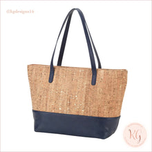 Load image into Gallery viewer, Viv & Lou Vegan Leather And Cork Charlotte Purse Navy