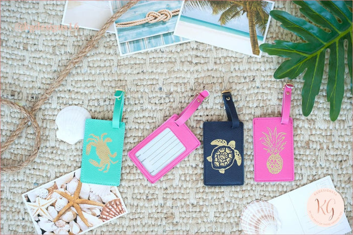 Viv & Lou Vegan Leather Luggage Tag Pineapple Flamingo Crab