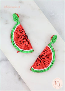 Watermelon Seed Bead Beaded Statement Earrings