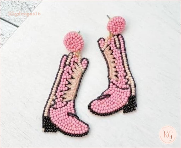 Western Beaded Rodeo Boot Dangle Earrings Brown And Pink Seed Bead