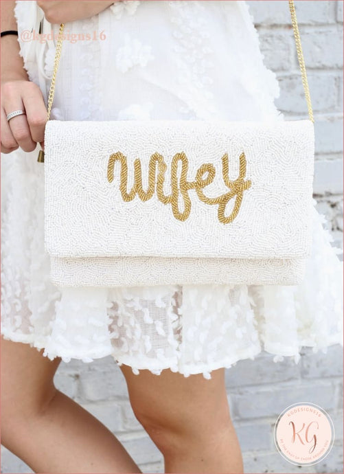 Wifey Ivory Beaded Bride Crossbody Clutch