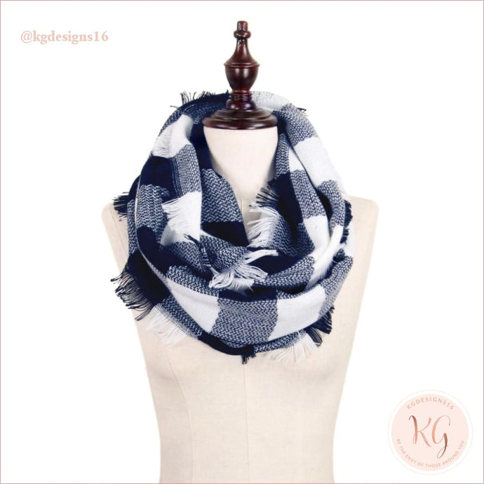 Womans Buffalo Check Infinity Blue And White Scarf