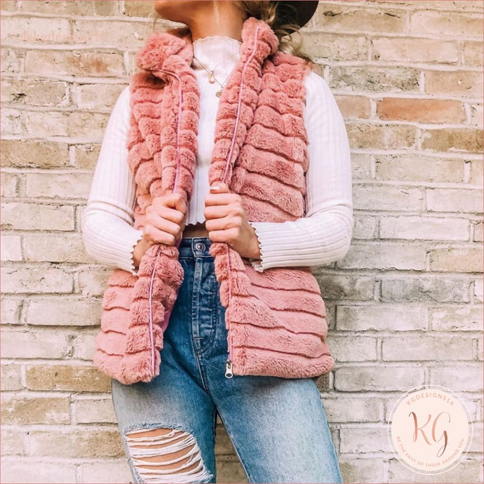 Womens Faux Rabbit Fur Zippered Vest S-2Xl