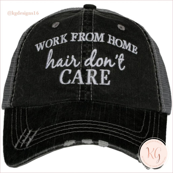 Work From Home Hair Dont Care Distressed Trucker Baseball Hat