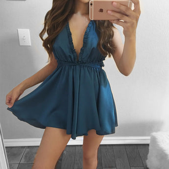 Gigi Satin Romper (Royal Blue)