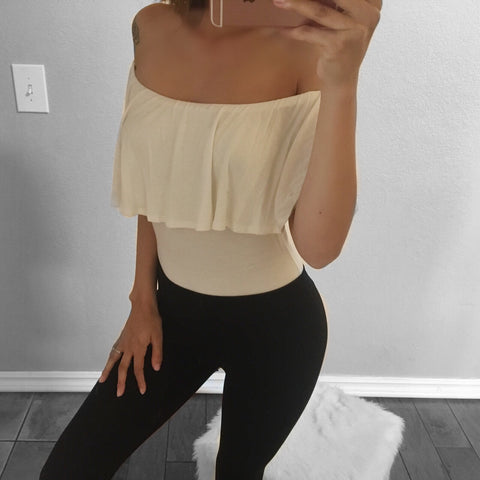 Sara Off the Shoulder Bodysuit (White)