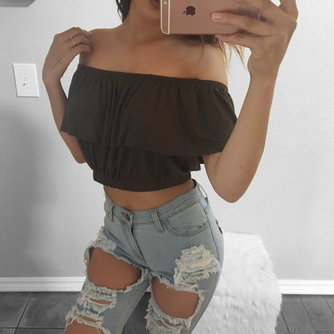 Kristi Off The Shoulder Crop Top (Olive)