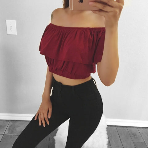 Kristi Off the Shoulder Crop Top (Burgundy)