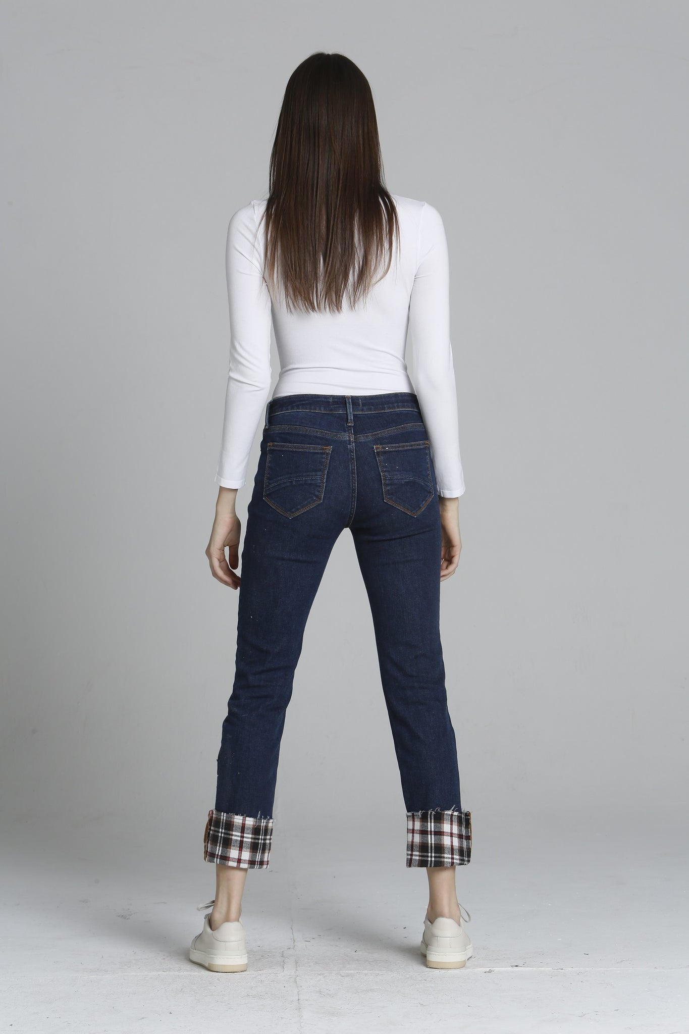 Colette Straight Crop - Plaid Cuff