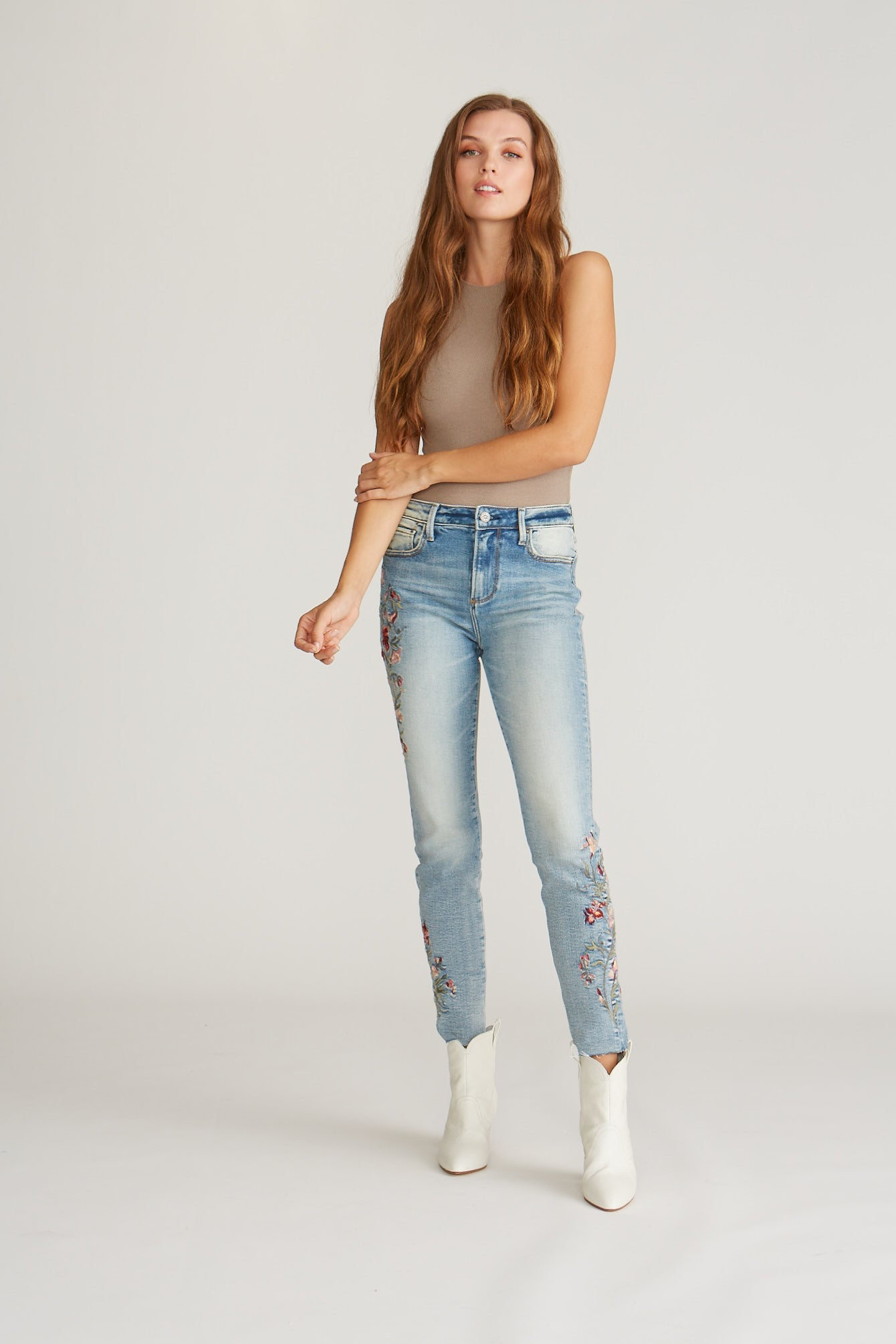 Jackie High Rise Skinny - Floral Denim