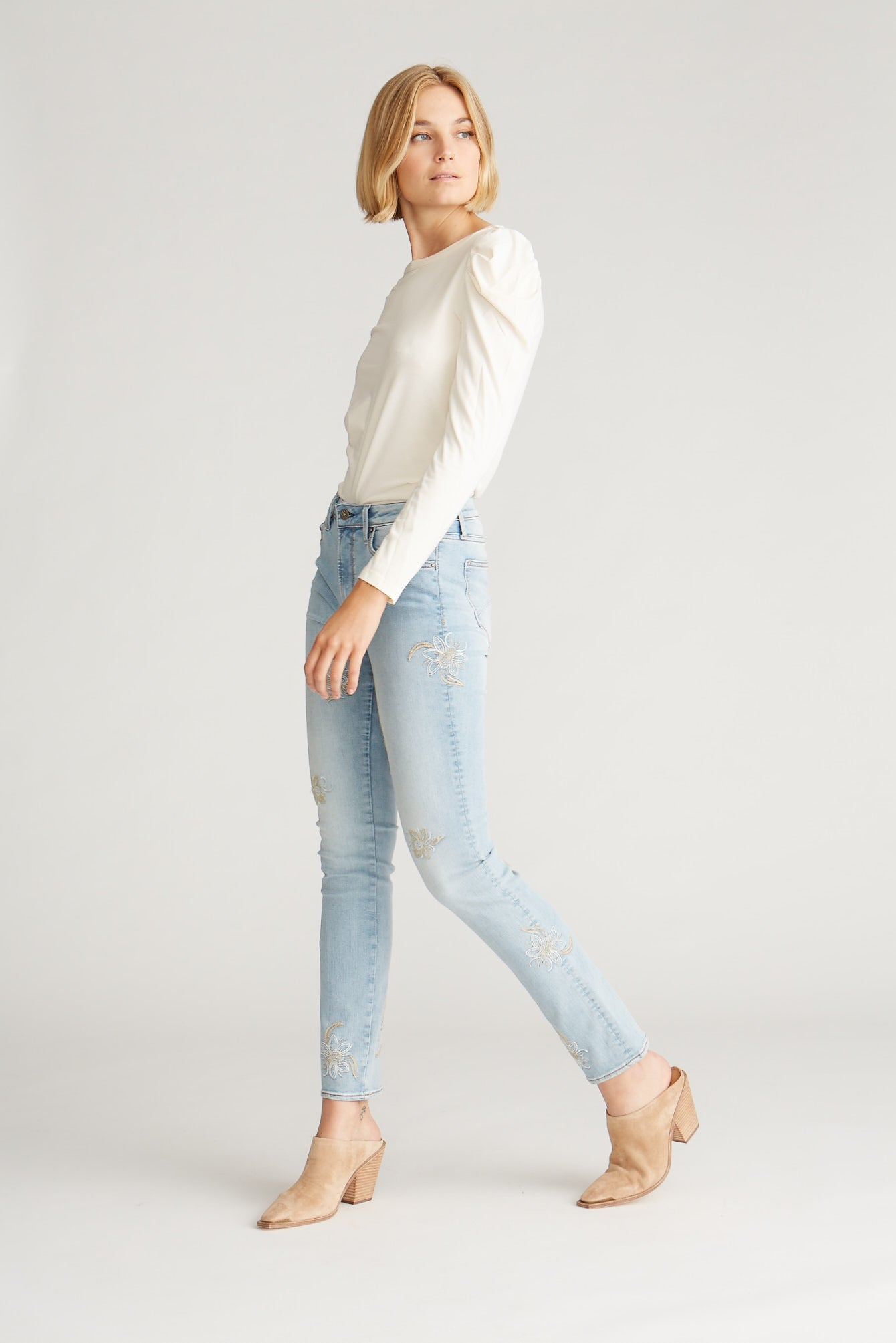 Audrey High Rise Straight - Medallion