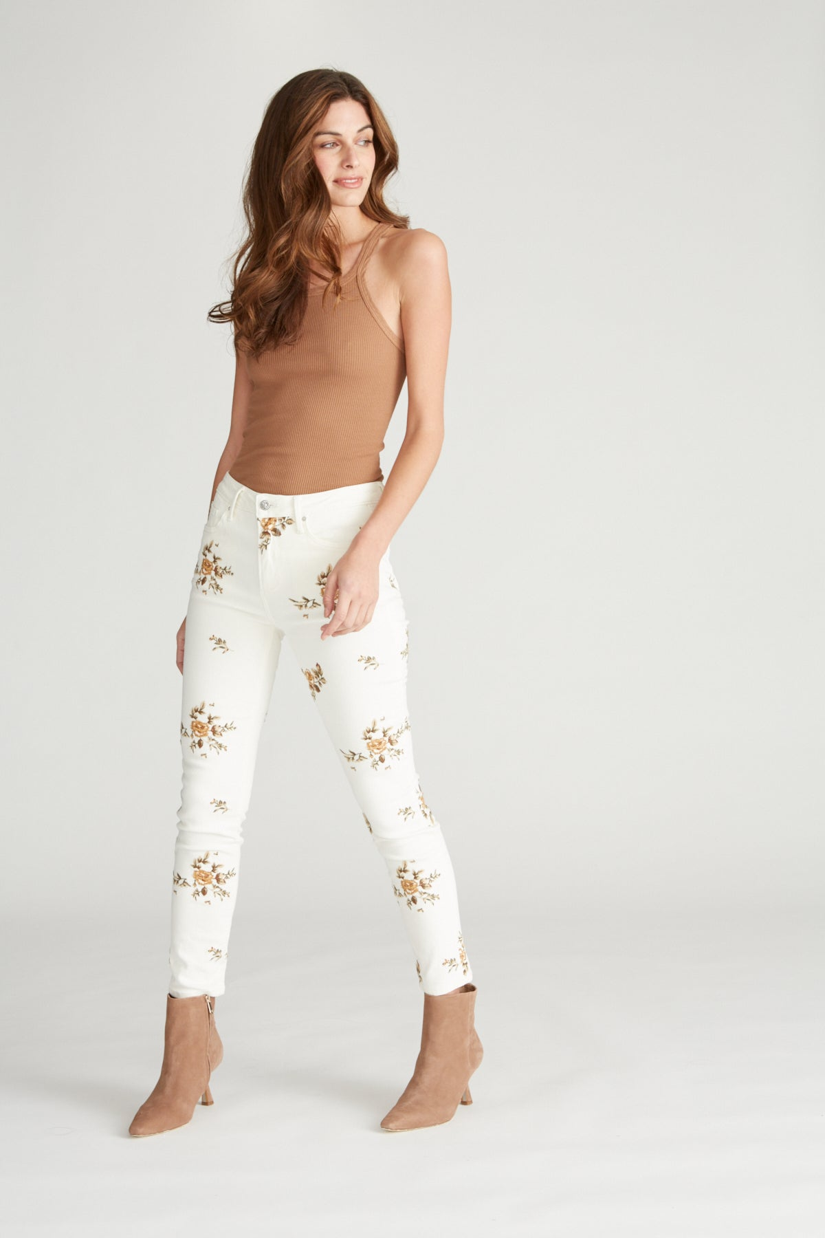Jackie High Rise Skinny - White Ditzy Garden