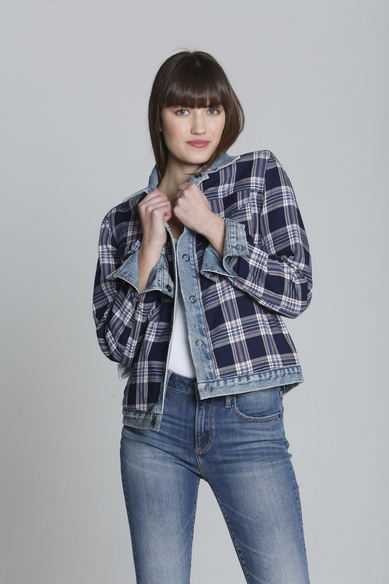 <b>Geena Denim Jacket - Plaid Reverse</b>