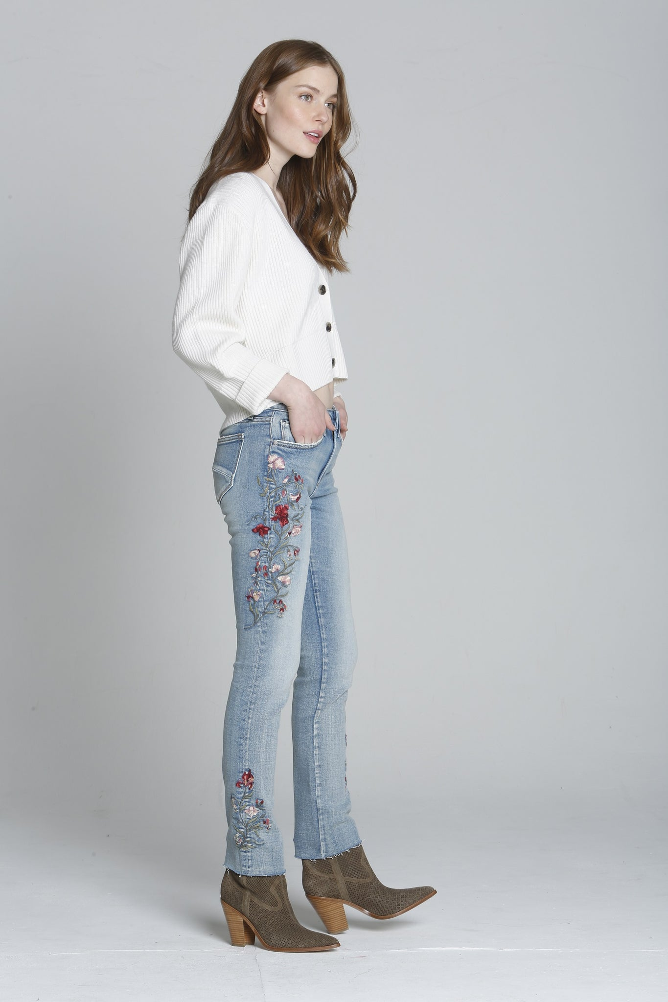 Audrey Straight - Floral Denim