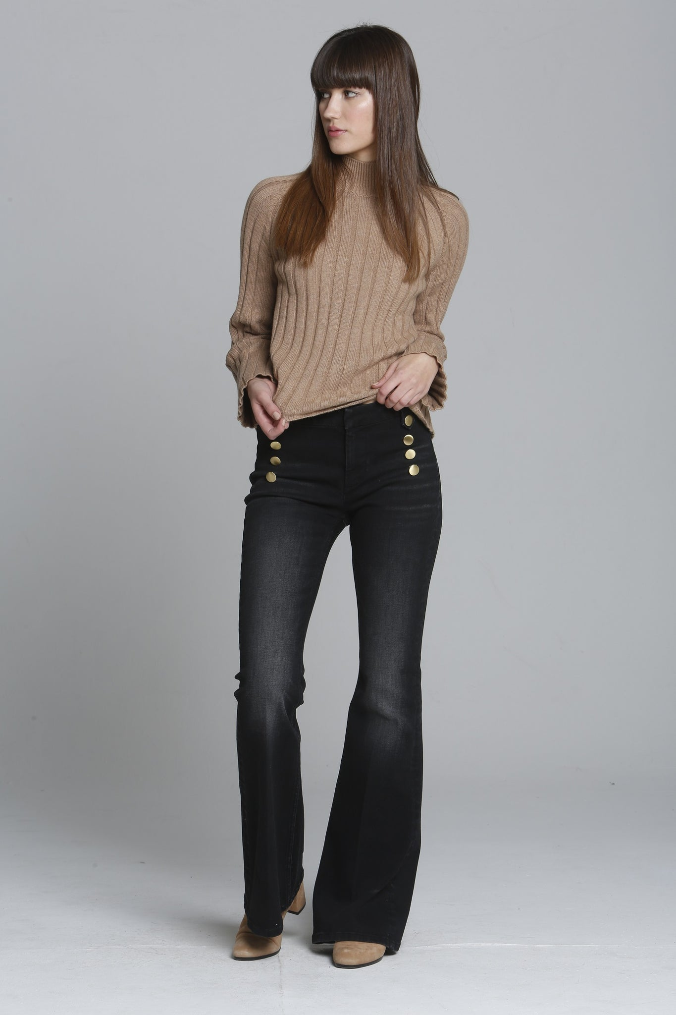 Tess Trouser Flare - Black Button