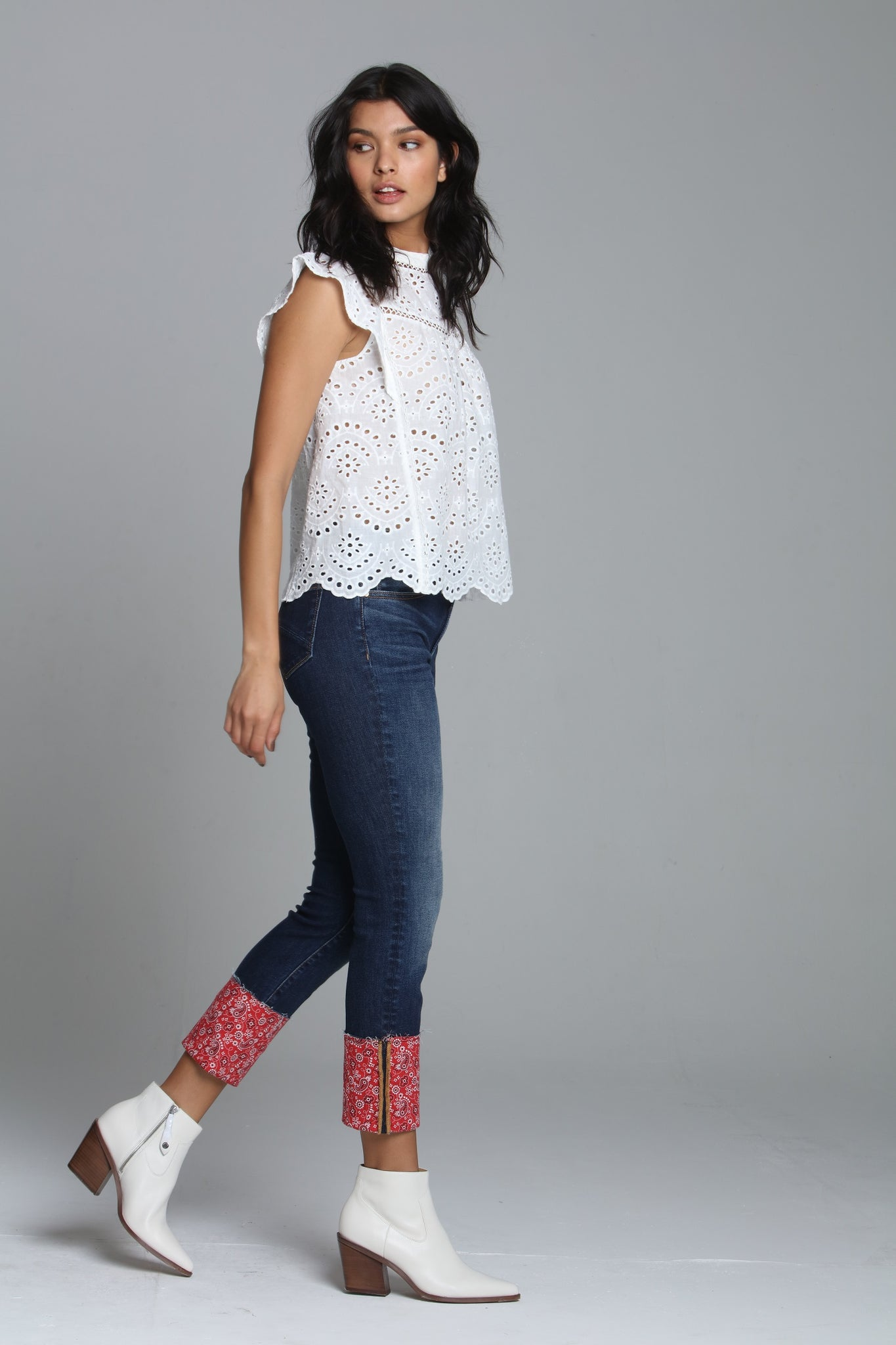 Colette Straight Crop - Red Bandana