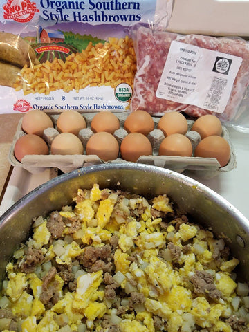 Ground pork, Scrambled Eggs and Hashbrowns