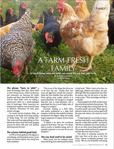 Image of article taken from Coulee Region Women Magazine article about Lynch Farms. You can see chickens pecking at bugs in the pasture and the title: A Farm-Fresh Family.