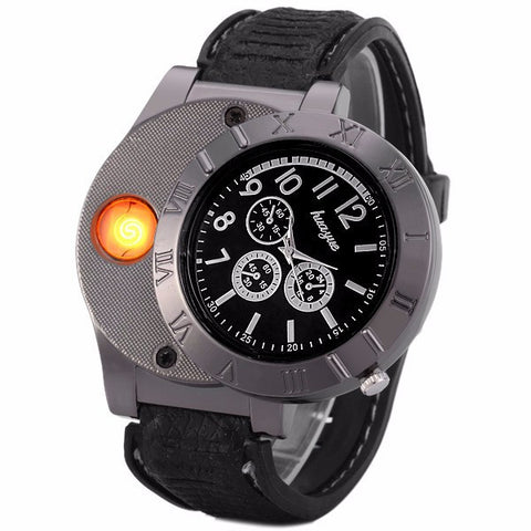 Huayue Rechargeable USB Watch Lighter Windproof Electronic Cigarette Lighter with LED Flameless Quartz Watch