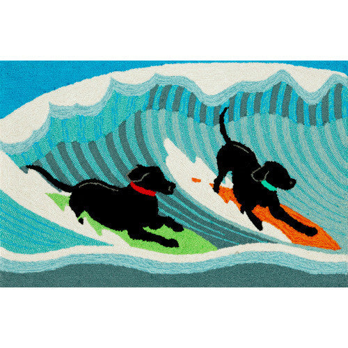 Surfing Dogs Indoor Outdoor Hooked Entrance Rug