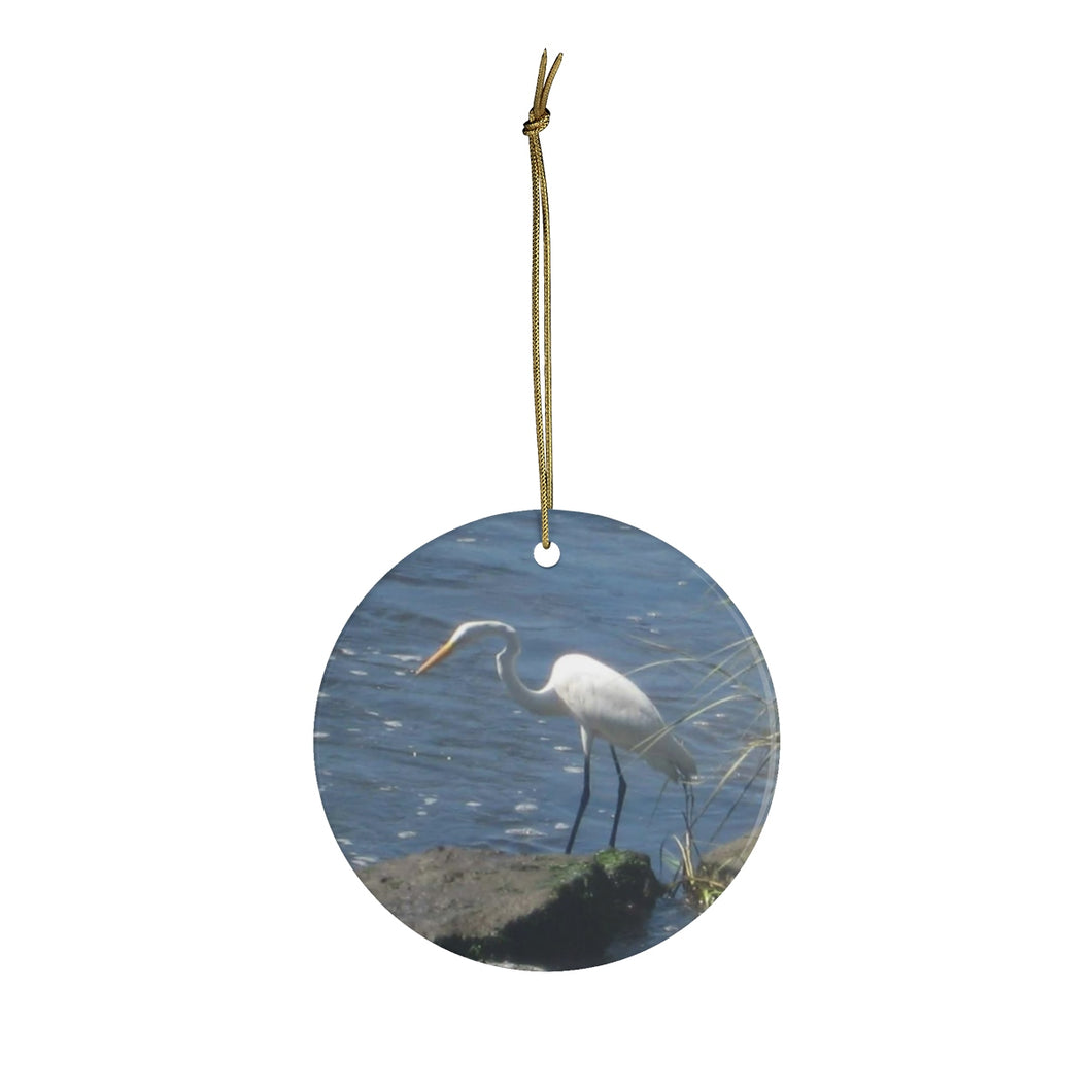 Egret II Ceramic Ornament