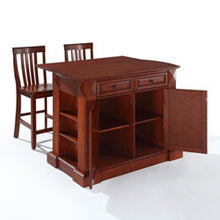 Drop Leaf Kitchen Island with Two Chairs