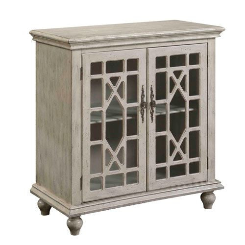 Ivory Hand Painted Cabinet with Chippendale Glass Doors