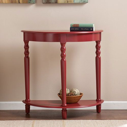 Red Demilune Accent Table