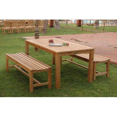 Outdoor Teak Dining Set with Benches