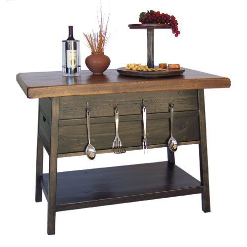 Noir Kitchen Island With Caramel Top