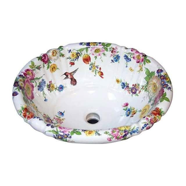 Decorated Porcelain Hummingbird Sink