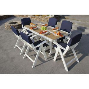 8 Piece Polywood Dining Set with Slipcushions - 7 Colors