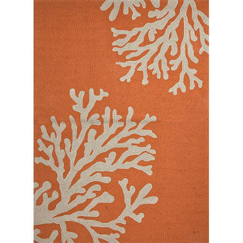 Square Orange and Coral Outdoor Rug 6 x 6