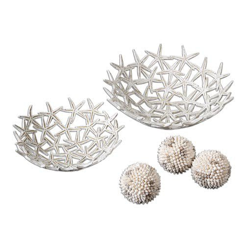 Set of Two Starfish Bowls With Decorative Spheres