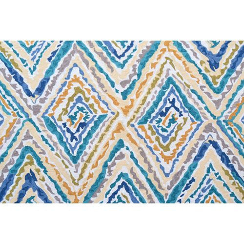 Resort Blue and Yellow Indoor/Outdoor Rug 5' x 8'