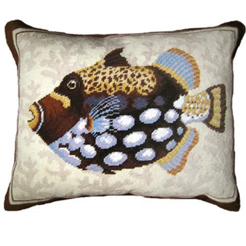 Triggerfish Needlepoint Pillow